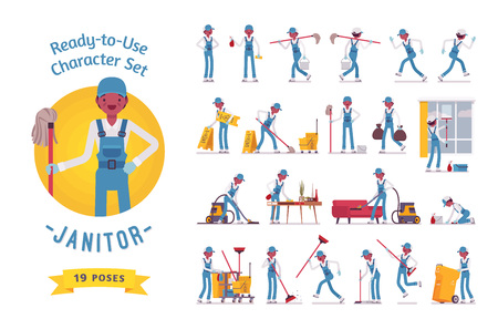 rubbish cart: Ready-to-use male janitor character set, various poses and emotions