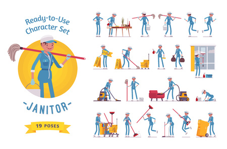Ready-to-use female janitor character set, various poses and emotions