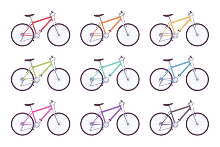 Set of sport bicycles in different colors Illustration