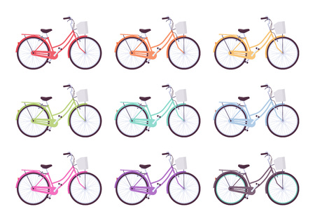 Set of female bicycles in different colors