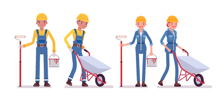 Set of male and female worker with wheelbarrow and paint