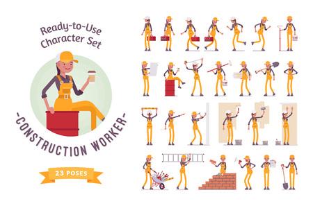すぐに使用できる文字セット。若年女性労働者全体では、様々 なポーズと感情を実行している、歩く、立っての作業します。完全な長さ、前面、背