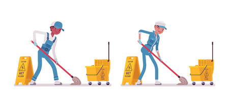 Set of male and female smiling young janitor in a blue suit, mopping the floor, yellow cleaning cart with bucket, caution wet floor sign, home and office service, isolated on white background