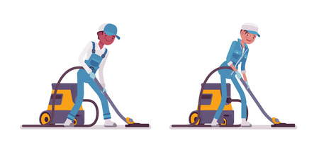 Set of male and female smiling young janitor in a blue suit, vacuum cleaning the floor, professional home and office service, isolated on white background Illustration