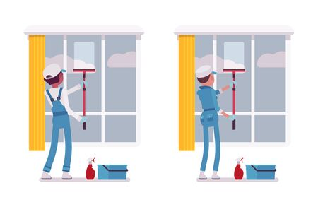 overall: Set of male and female janitor in a blue suit window washing indoors with squeegee, professional home and office service, spring cleaning duty, isolated on white background, rear view