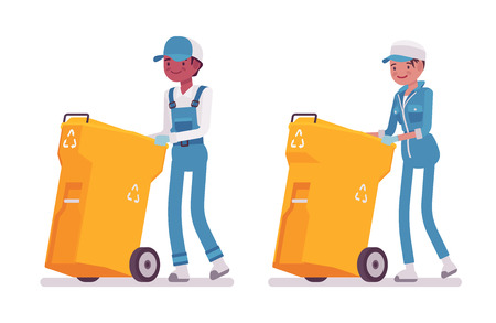 Set of male and female smiling janitor in a blue suit pushing yellow trash can on wheels, plastic garbage container, professional home and office service, isolated on white background