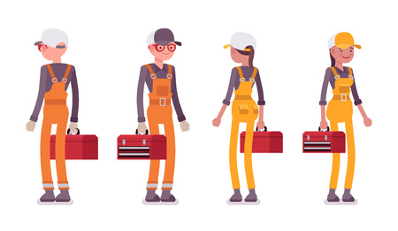 Set of male and female worker standing, wearing bright overall Illustration