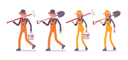 Set of male and female worker walking with tools, bright overall