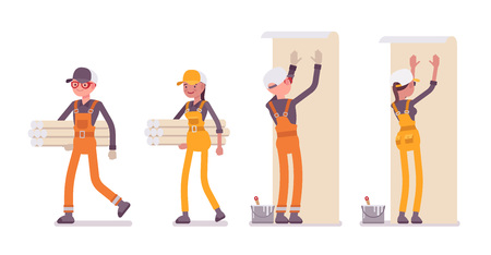 Set of male and female worker with wallpapers, wearing bright overall
