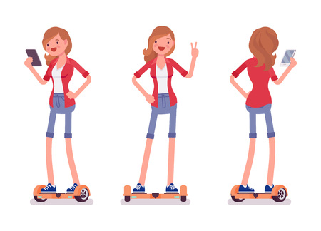Gyroscooter attractive smiling girl riding a self-balancing board, wearing shorts, holding phone, standing pose, vector flat style cartoon illustration isolated, white background, front, rear view Illustration