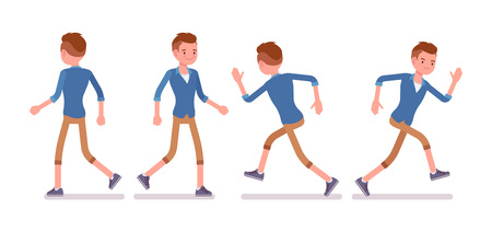 Set of male millennial in walking and runnig pose Vetores