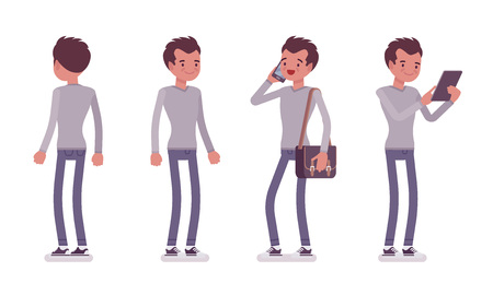 Set of young handsome man, smart casual dressing, skinny jeans, holding messenger bag, standing pose, using gadget, front, rear view, vector flat style cartoon illustration, isolated, white background
