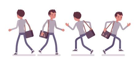 젊은 잘 생긴 남자, 스마트 캐주얼 드레싱, 마른 체형의 청바지, 걷고, 실행, 포즈, 전면, 후면보기 벡터를 들고 플랫 스타일 만화 그림, 절연, 흰색 배경