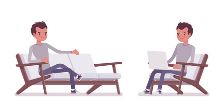 Set of young handsome man, smart casual dressing, sitting in armchair, comfortable sofa, working with laptop, smiling and relaxing vector flat style cartoon illustration, isolated, white background Illustration