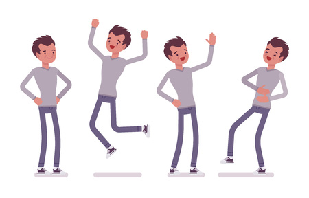 Set of young handsome man, casual wear, skinny jeans, standing and jumping with joy, belly laughing, akimbo pose, positive emotions, vector flat style cartoon illustration, isolated, white background Иллюстрация