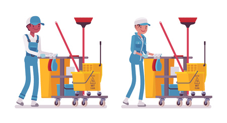 Set of male and female smiling janitor in a blue suit pushing yellow plastic cart with cleaning tools, mop, broom, bucket, caution wet floor sign, home and office service, isolated on white background Ilustrace