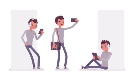 Set of young handsome man, smart casual dressing, skinny jeans, holding messenger bag, standing, sitting with gadget, making selfie, vector flat style cartoon illustration, isolated, white background