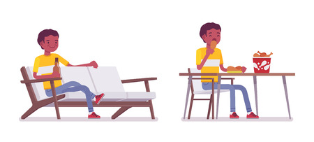 Set of black or african american young man, sitting with beer on sofa, eating at the table, fried chicken bucket on it, relaxing, vector flat style cartoon illustration, isolated, white background
