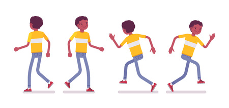 Set of black or african american young man wearing bright t-shirt, in running and walking pose, front, rear view, vector flat style cartoon illustration, isolated, white background Illustration