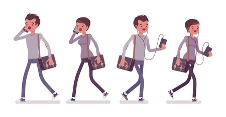 woman cellphone: Set of young man and woman walking with gadgets