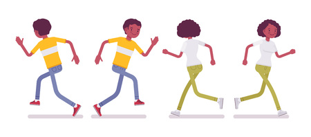 Set of Black or African American young man and woman running Illustration