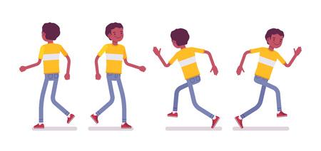 검은 색 또는 흑인 미국 젊은 남자의 집합이 걷고 실행 일러스트