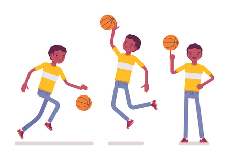 Set of black or african american young man playing basketball