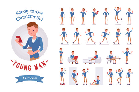 Ready-to-use young man character set, various poses and emotions