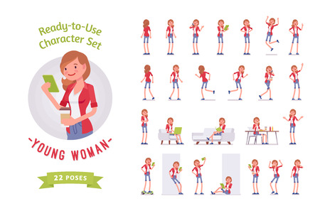 Ready-to-use young woman character set, various poses and emotions 矢量图像