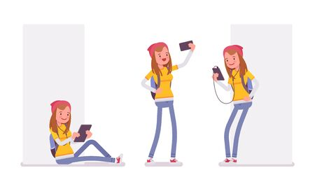 using tablet: Teenager girl using different gadgets