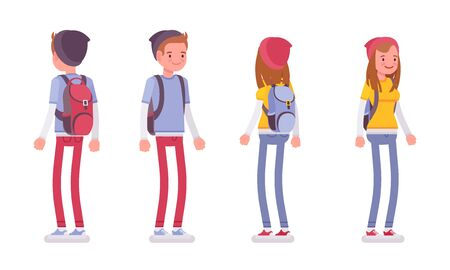 Teenager boy and girl in standing pose