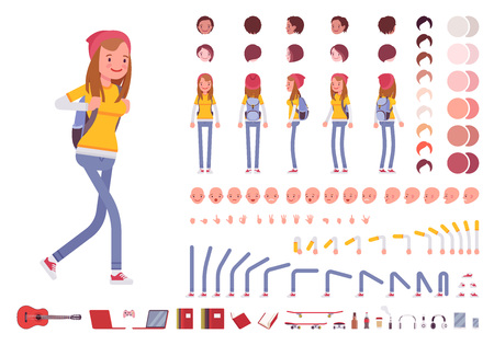 Teenager girl character creation set
