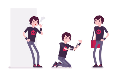 Emo boy, true subculture look, skinny jeans, black t-shirt, wristbands, choppy hairstyle, smoking, vein cutting with knife, standing. Vector flat style cartoon illustration, isolated, white background