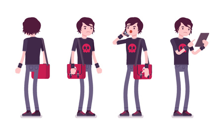wristbands: Emo boy, true subculture look, skinny jeans, black t-shirt, wristbands, choppy hairstyle, depressed, standing pose with phone. Vector flat style cartoon illustration, isolated, white background