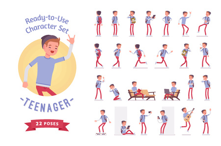 Ready-to-use teenager boy character set, various poses and emotions 矢量图像
