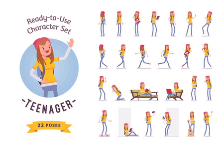 Ready-to-use teenager girl character set, various poses and emotions 矢量图像