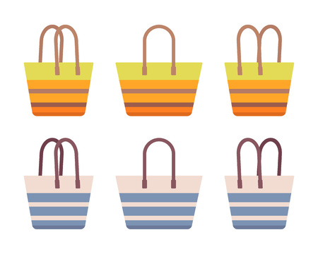 Beach bag set, cotton stripe with rope handle, lady holiday or picnic accessory, stylish practical summer totes, blue, orange color. Vector flat style cartoon illustration, isolated, white background Illustration