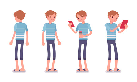 using tablet: Young smiling man wearing blue leisure summer fit, trendy stripe print, beach shoes, standing, holding gadgets. Front and rear view. Vector flat style cartoon illustration, isolated, white background Illustration
