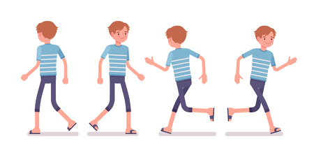Young smiling man wearing blue leisure summer fit, trendy stripe print, beach shoes, walking and running pose. Front and rear view. Vector flat style cartoon illustration, isolated, white background