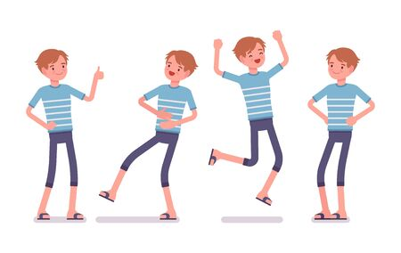 feeling good: Young smiling man wearing leisure summer fit, trendy stripe print, beach shoes, feeling good, jumping with joy, positive emotions. Vector flat style cartoon illustration, isolated, white background