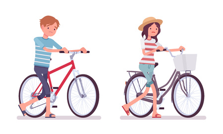 pastime: Young man and woman, bad cyclists Illustration