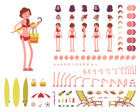 Female swimsuit. Character creation set Stock Photo