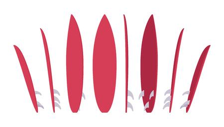 long jump: Surfboard set, sport of surfing equipment Illustration
