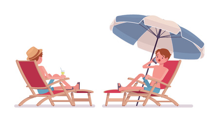 Man in summer wear, swim trunk shorts, beach shoes, relaxing and sunbathing in a chaise longue under umbrella. Side and rear view. Vector flat style cartoon illustration, isolated, white background