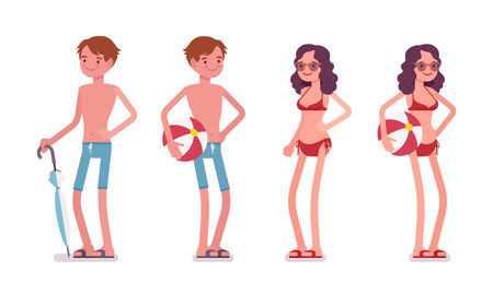 Man and woman in a beachwear set, standing and relaxing