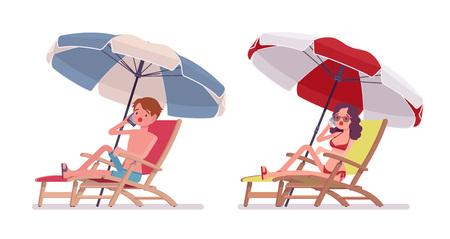 Man and woman in a beachwear sunbathing and phonetalking 向量圖像