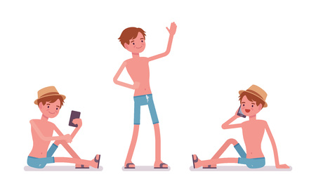 bathe: Man in summer wear with gadgets, blue swim trunk shorts, hat, beach shoes, perfect holiday look, standing and sitting, phone talking. Vector flat style cartoon illustration, isolated, white background Illustration