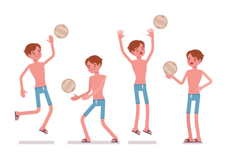 bathe: Man in summer wear, blue swim trunk shorts, perfect holiday look, playing beach volleyball, enjoying healthy sport, jumping. Vector flat style cartoon illustration, isolated, white background