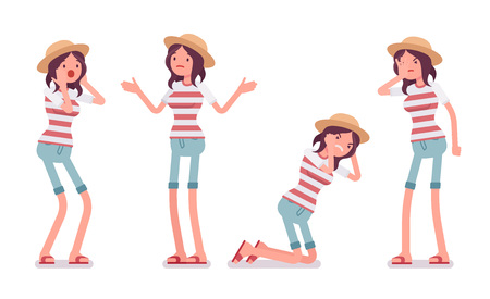 Jonge ongelukkige vrouw die vrijetijdsbesteding zomer fit, trendy stripe print, strand schoenen, slecht, verbaasd, verward, negatieve emoties. Vector vlakke stijl cartoon afbeelding, geïsoleerde, witte achtergrond
