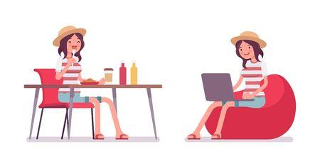 Ajuste sonriente del verano del ocio de la mujer que lleva sonriente, impresión de moda de la raya, zapatos de la playa, sentada, comiendo, trabajando con la computadora portátil en el puf. Vector ilustración de dibujos animados de estilo plano, aislado, fondo blanco Ilustración de vector